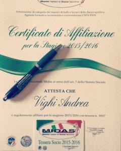 Maestro di danza sportiva ballo FIDS MIDAS Andrea Vighi
